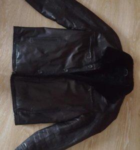 Кожаная зимняя мужская куртка