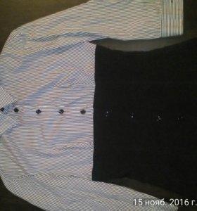 Рубашка,чёрно белая . Отлично смотрится на талии .