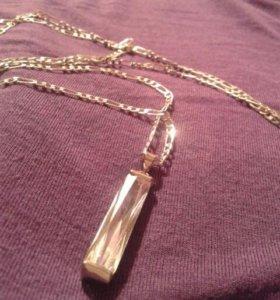 Серебрянная цепочка  с кулоном .