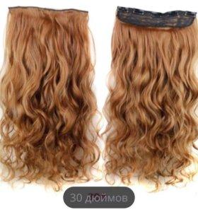Волосы на заколках рыжие, трессы (искусственные)