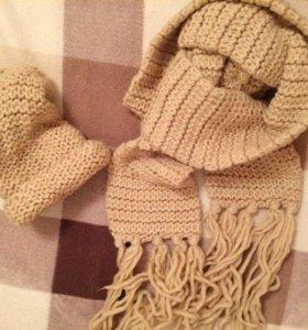 Вязанный шарф и шапка теплый комплект зимний :)
