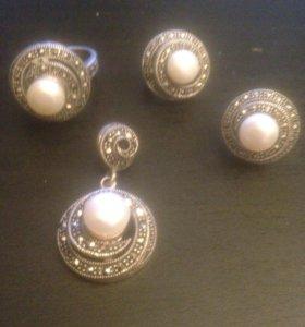 Комплект серебро (кольцо, Серьги, подвеска)