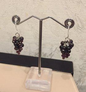 Серьги-грозди из натурального граната