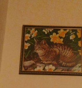 Картина из алмазной мозаики.Кот в нарциссах.