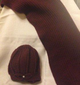 Шапка-беретка и шарф
