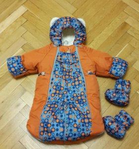 Детский зимний комбинезон-трансформер на овчине