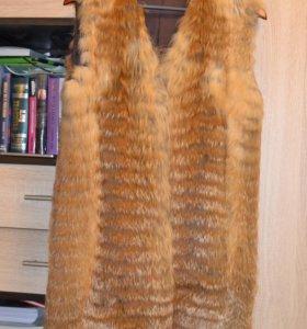 Жилет из рыжей лисы 44-46 размера