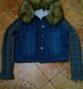 Теплая джинсовая курточка