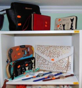 Кошельки, сумочки, часы