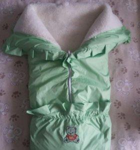 Конверт-одеяло зимнее для новорожденных малышей