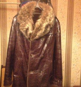 Кожаная зимняя куртка с мехом новая