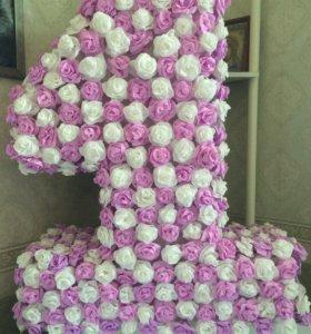 "Объемная цифра ""единичка"" из роз на день рождения"
