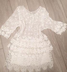 Кружевная блузка+юбка-шорты