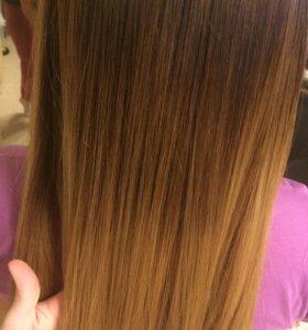 Кератиеовое выпрямление волос