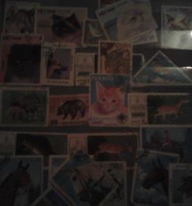Марки 1928-1978 год животные и живопись