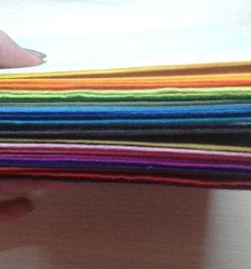 Фетр 1мм 15×15см 40шт набор разных по цвету