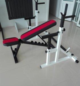 Скамья лежак для упражнений с гантелями и штангой