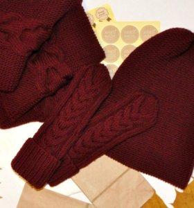 Комплект ручной работы:шапка,снуд,варежки.