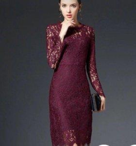 Новое платье из плотного хлопкового гипюра
