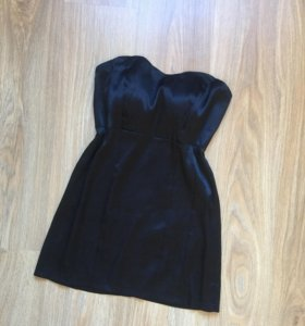 Платье атласное черное