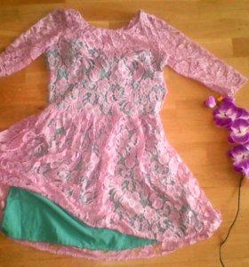 Платье нежно розовое+ бирюзовое
