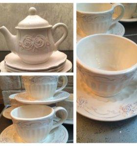Керамический набор чайник и чайные пары