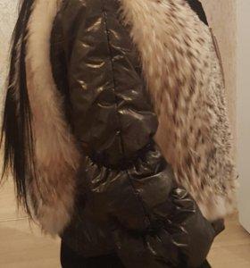 Меховая жилетка + куртка