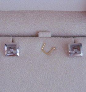 Новые золотые серьги с брил. 585 пр. Chopard