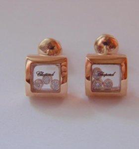 Новые золотые серьги Chopard с брил. 585 пр.