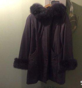 Пальто зимнее фиолетовое с натуральным мехом