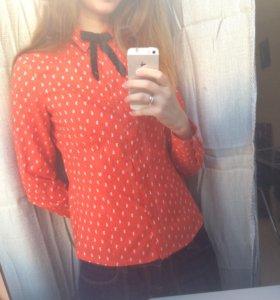 Рубашка оранжевая Ostin в мелкого зайчика