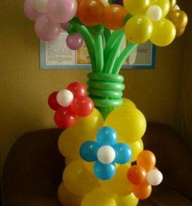 Цветы в вазе, композиция из шаров