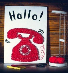Картина панно Ретро телефон. Ручная работа.