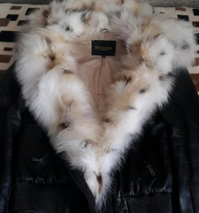 Кожаная, тёплая куртка
