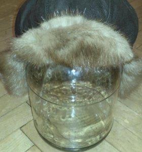 Зимняя шапка натуральная кожа, норка