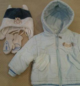 Теплая курточка + шапочка и варежки
