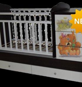 Новая Детская кровать трансформер Ульяна 1 (мишки)
