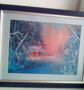 Картина бисером (ручной работы) размер 40*35