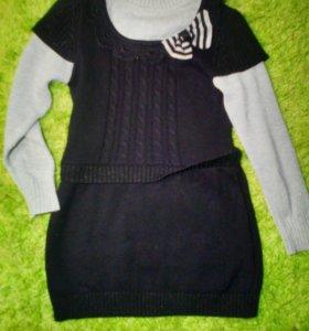 Платье вязаное на 7-10 лет