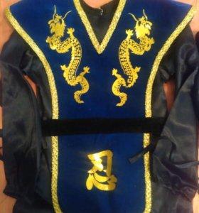 Карнавальный костюм Ниндзя синий на 7-9 лет