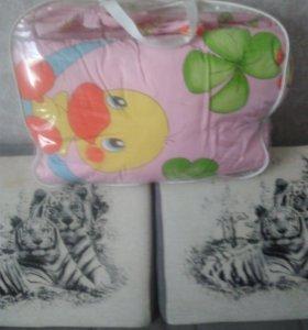 Балдахин с бортиками, одеяло,подушка и намотрацник