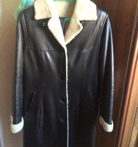 Женское зимнее пальто из кожи