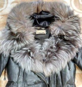 Кожаный пуховик(зима)