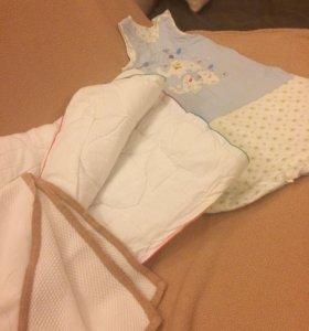 спальник+аспиратор+халатик+варежки+2 одеяла!