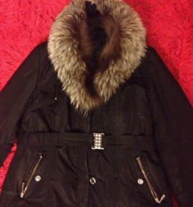 Зимняя куртка (пуховик), натуральный мех, длинная
