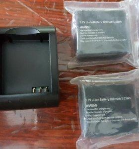 2 батареи и зарядка на экшин камеру SJ4000