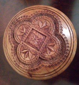 Шкатулка деревянная, D=8см, Н=5см