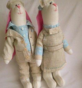 интерьерная кукла зайцы тильда