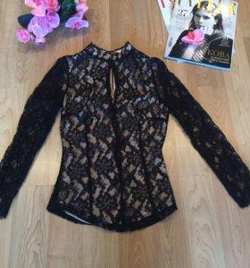 Чёрная кружевная блузка Zara Women (размер XS)