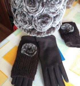Шапка, перчатки. Теплая зима